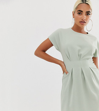 Asos DESIGN Petite nipped in waist mini dress-Green