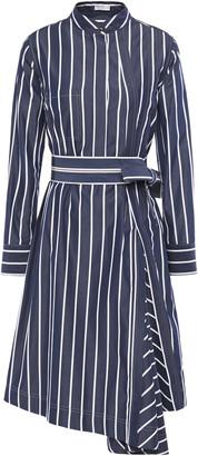 Brunello Cucinelli Belted Bead-embellished Striped Cotton-poplin Shirt Dress