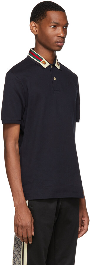 Thumbnail for your product : Gucci Navy Feline Head Web Polo
