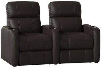 Latitude Run Home Theater Row Seating (Row of 2 Body Fabric: Smartsuede Onyx, Reclining Type: Manual