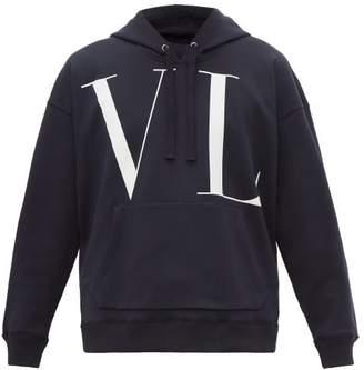 Valentino Logo Print Oversized Cotton Jersey Hoodie - Mens - Navy
