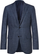 Ermenegildo Zegna - Blue Slub Wool, Silk And Linen-blend Blazer