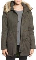 Sam Edelman Twill Pleat Skirt Parka with Faux Fur Trim Hood (Online Only)