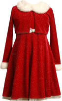Bonnie Jean Velvet Santa Dress and Cardigan - Girls 7-16
