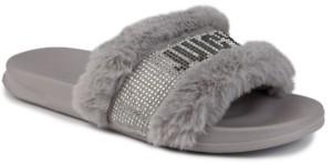 Juicy Couture Women's Steady Faux Fur Sandal Slide Women's Shoes