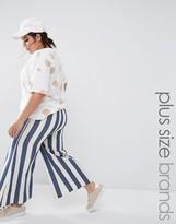 Boohoo Plus Wide Leg Striped Pant