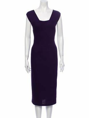 Donna Karan Square Neckline Midi Length Dress w/ Tags Purple