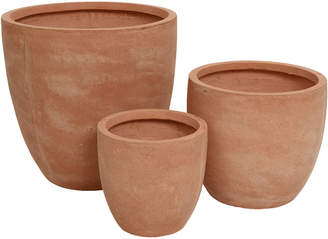 A By Amara A by Amara - Round Clay Plant Pot - Set of 3 - Terracotta