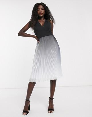 Chi Chi London pleated midi dress in black ombre