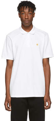 Carhartt Work In Progress White Pique Chase Polo