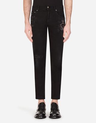 Dolce & Gabbana Skinny Stretch Jeans With Patch