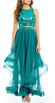 Jodi Kristopher Sequin-Embellished Top Layered Skirt Two-Piece Long Dress