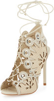 Ivy Kirzhner Castille Snake-Embossed Lace-Up Sandal, Cream