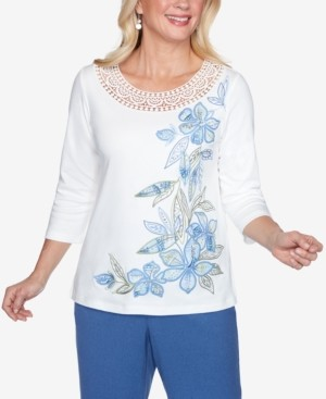 Alfred Dunner Three Quarter Sleeve Asymmetric Floral Knit Top with Crochet Yoke