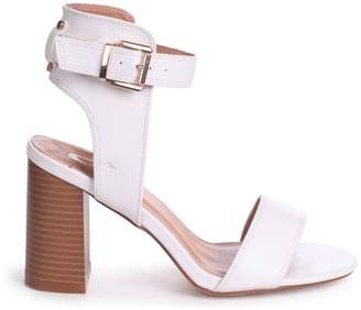 Linzi Kerry White Nappa Open Toe Stacked Block Heels With Ankle Straps