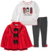 Kids Headquarters 3-Pc. Fleece Jacket, Glitter-Print T-Shirt and Leggings Set, Baby Girls (0-24 months)