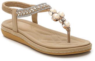 BEIGE Siketu Women's Sandals  Pearl Metallic Rhinestone Braid T-Strap Sandal - Women