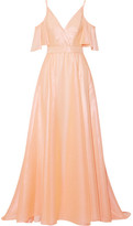 Lela Rose Off-the-shoulder Metallic Voile Gown - Blush