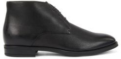 HUGO BOSS Italian Made Desert Boots In Leather With Shearling Lining - Black