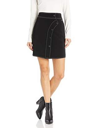 Armani Exchange A|X Women's Mini Skirt with Curved Button Front Placket