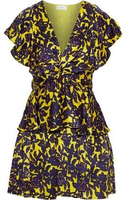 A.L.C. Viera Twist-front Floral-print Hammered-silk Mini Dress