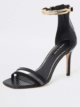 River Island Gold Ankle Cuff Barely There Sandal - Black