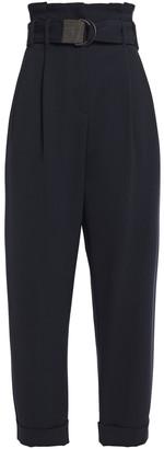 Brunello Cucinelli Belted Wool-blend Twill Wide-leg Pants