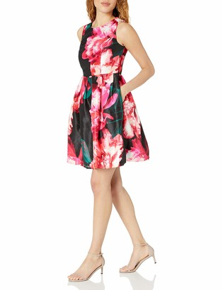 Donna Ricco Women's Short Sleeve Floral Printed Scuba Fit and Flare Dress Black/Fuchsia 12