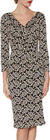 Gina Bacconi Grace Floral Jacquard Dress, Black/Peach