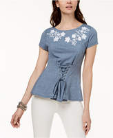 INC International Concepts Embroidered Corset T-Shirt, Created for Macy's