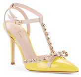 Kate Spade Lydia Studded Leather & Patent T-Strap Pumps