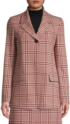 HUGO Plaid-Print Notch Lapel Blazer