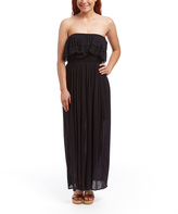 Black Crochet-Ruffle Strapless Maxi Dress