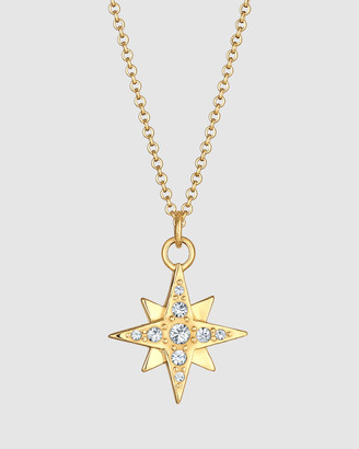 Elli Jewelry Necklace Star Astro Pendant Sparkling Spiritual with Swarovski& Crystals in 925 Sterling Silver Gold Plated