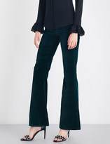 Rockins Flared high-rise velvet jeans