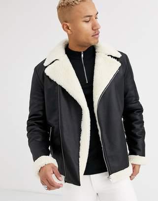 Asos Design DESIGN oversized belted biker jacket in black faux leather
