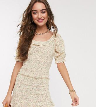 Miss Selfridge Petite ditsy print poplin dress in ivory