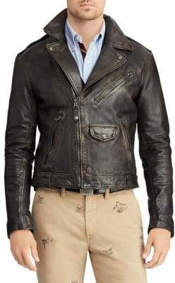 Polo Ralph Lauren Distressed Leather Moto Jacket
