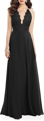 Dessy Collection Plunge Neck Lace & Chiffon Gown