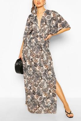 boohoo Paisley Print Kimono Sleeve Maxi Dress