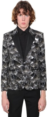 Saint Laurent Sequined Cotton Velvet Evening Jacket