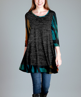 Aster Gray Abstract-Accent Swing Tunic - Plus