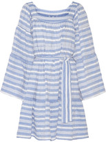 Lisa Marie Fernandez Striped Cotton-blend Gauze Mini Dress - Light blue