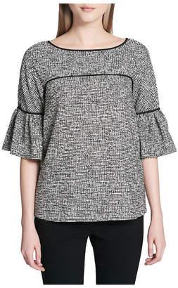 Calvin Klein Bell-Sleeve Piped Tweed Top
