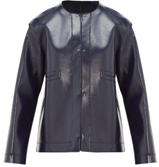 Sara Lanzi Coated Wool-blend Jacket - Navy