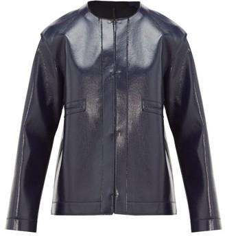 Sara Lanzi Coated Wool-blend Jacket - Womens - Navy