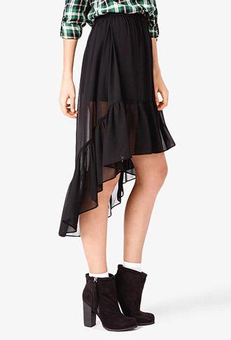 Forever 21 Ruffled Chiffon High-Low Skirt