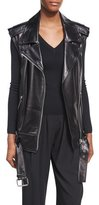 Michael Kors Long Lamb Leather Biker Vest, Black