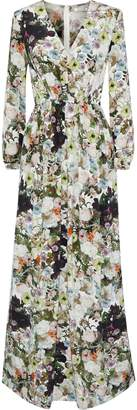 ADAM by Adam Lippes Pleated Floral-print Silk-crepe Maxi Dress
