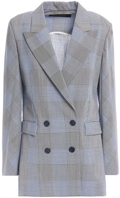 Roland Mouret Double-breasted Open-back Checked Wool And Mohair-blend Blazer